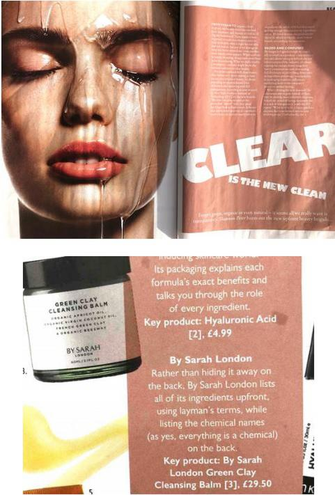 Grazia article on clear beauty